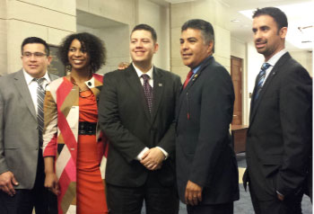 From right: Enrique Lopez Lira (NCLR), Mitria Wilson (National Community Reinvestment Coalition), Scott Astrada (Congressional Hispanic Caucus Institute), Representative Tony Cardenas, and Leo Pareja (NARHREP)